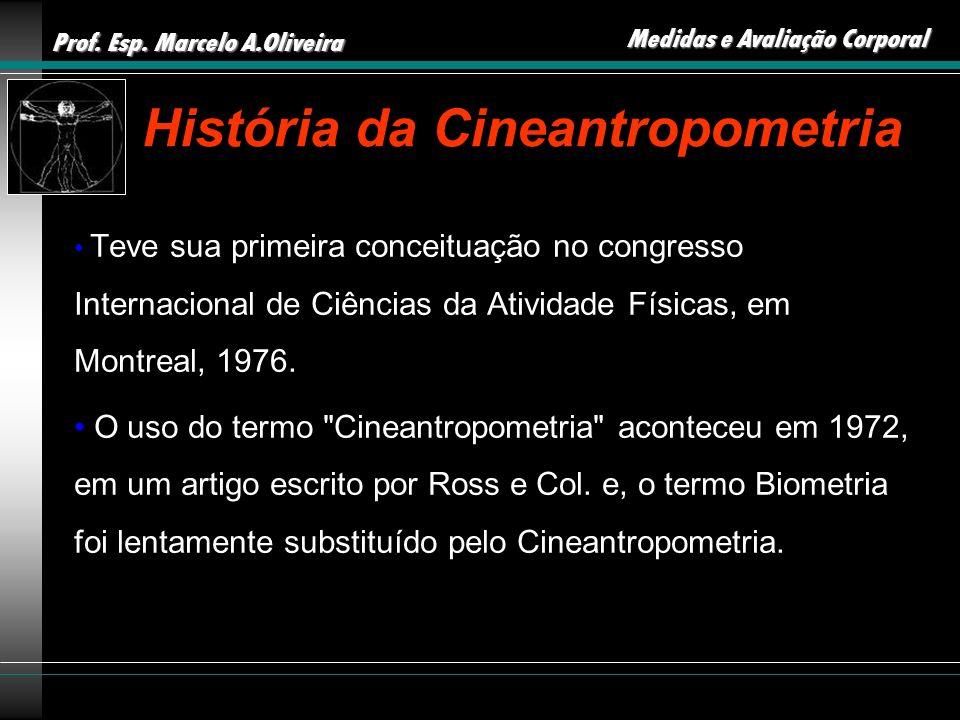 Prof. Esp. Marcelo A.Oliveira Medidas e Avaliação Corporal História da Cineantropometria Teve sua primeira conceituação no congresso Internacional de