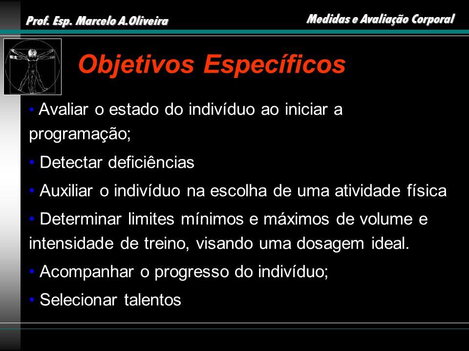 Prof. Esp. Marcelo A.Oliveira Medidas e Avaliação Corporal Objetivos Específicos Avaliar o estado do indivíduo ao iniciar a programação; Detectar defi