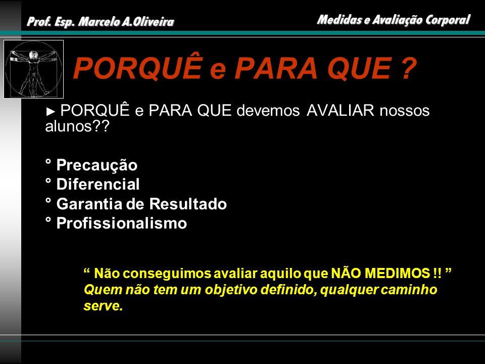 Prof. Esp. Marcelo A.Oliveira Medidas e Avaliação Corporal PORQUÊ e PARA QUE ? PORQUÊ e PARA QUE devemos AVALIAR nossos alunos?? ° Precaução ° Diferen
