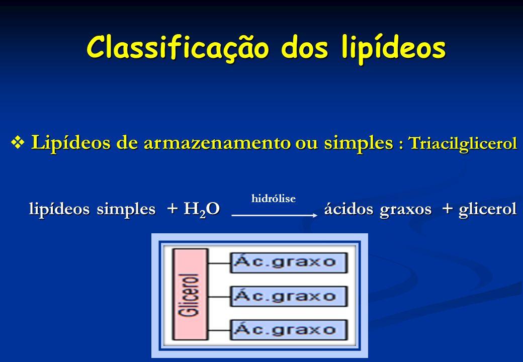Classificação dos lipídeos Lipídeos de armazenamento ou simples : Triacilglicerol Lipídeos de armazenamento ou simples : Triacilglicerol lipídeos simp