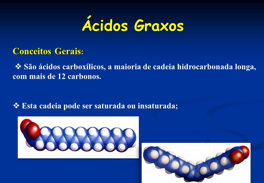 Ácidos Graxos Conceitos Gerais : São ácidos carboxílicos, a maioria de cadeia hidrocarbonada longa, com mais de 12 carbonos. Esta cadeia pode ser satu