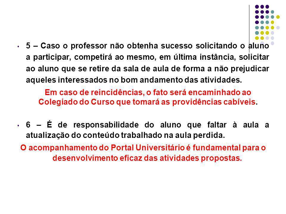 5 – Caso o professor não obtenha sucesso solicitando o aluno a participar, competirá ao mesmo, em última instância, solicitar ao aluno que se retire d