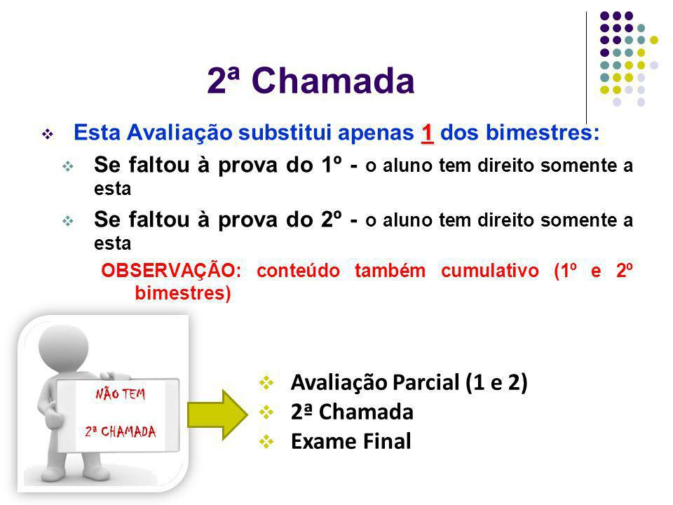 2ª Chamada 1 Esta Avaliação substitui apenas 1 dos bimestres: Se faltou à prova do 1º - o aluno tem direito somente a esta Se faltou à prova do 2º - o