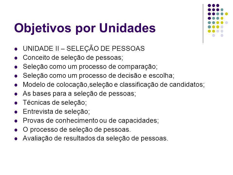 Objetivos por Unidades UNIDADE II – SELEÇÃO DE PESSOAS Conceito de seleção de pessoas; Seleção como um processo de comparação; Seleção como um process