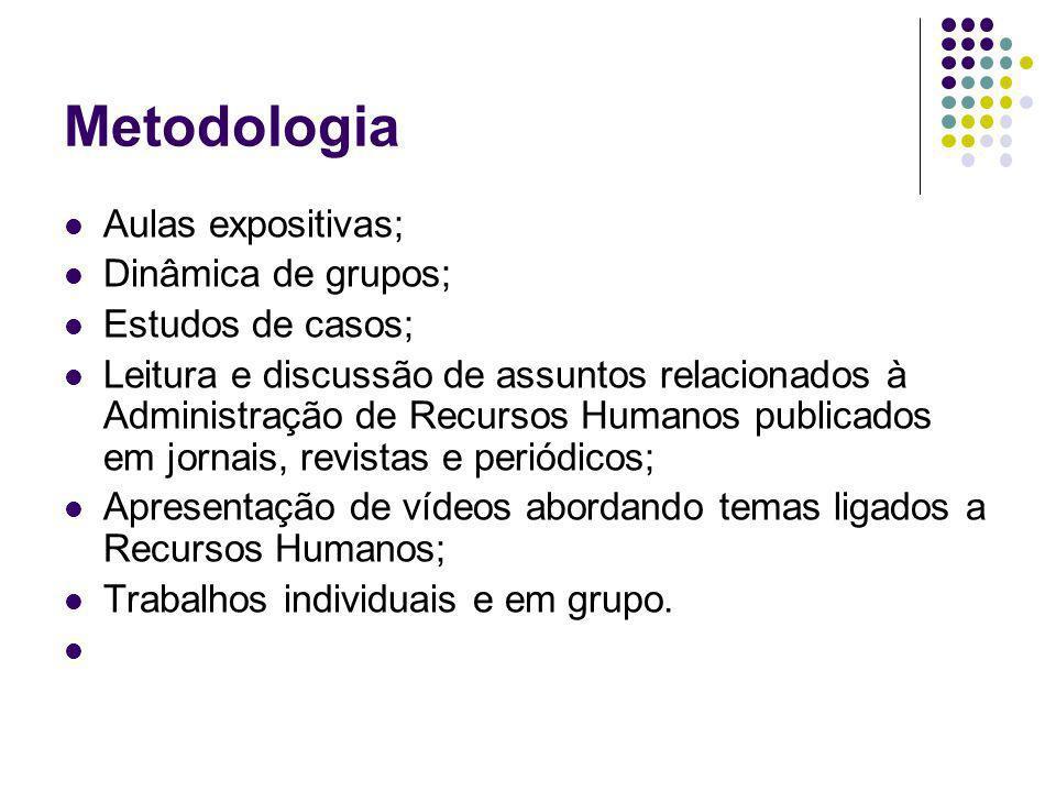 Metodologia Aulas expositivas; Dinâmica de grupos; Estudos de casos; Leitura e discussão de assuntos relacionados à Administração de Recursos Humanos
