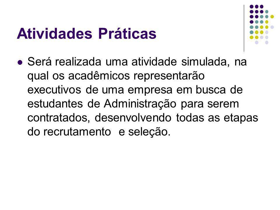 Atividades Práticas Será realizada uma atividade simulada, na qual os acadêmicos representarão executivos de uma empresa em busca de estudantes de Adm