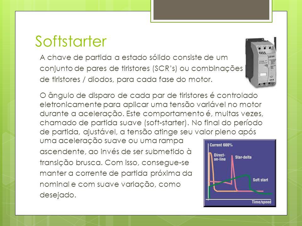 Softstarter A chave de partida a estado sólido consiste de um conjunto de pares de tiristores (SCRs) ou combinações de tiristores / diodos, para cada