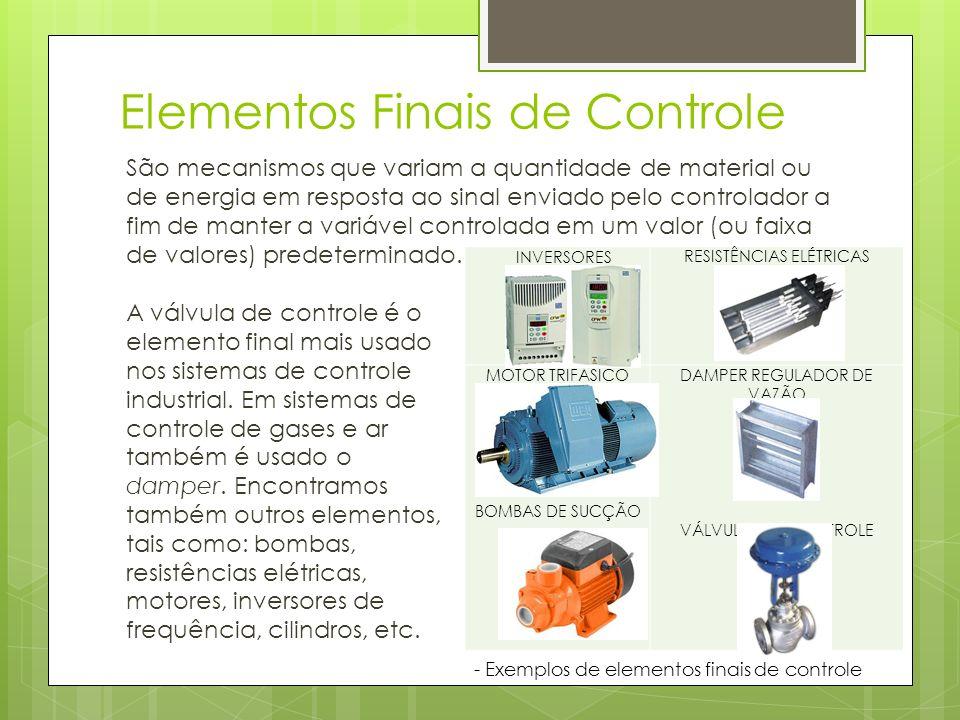 Elementos Finais de Controle São mecanismos que variam a quantidade de material ou de energia em resposta ao sinal enviado pelo controlador a fim de m
