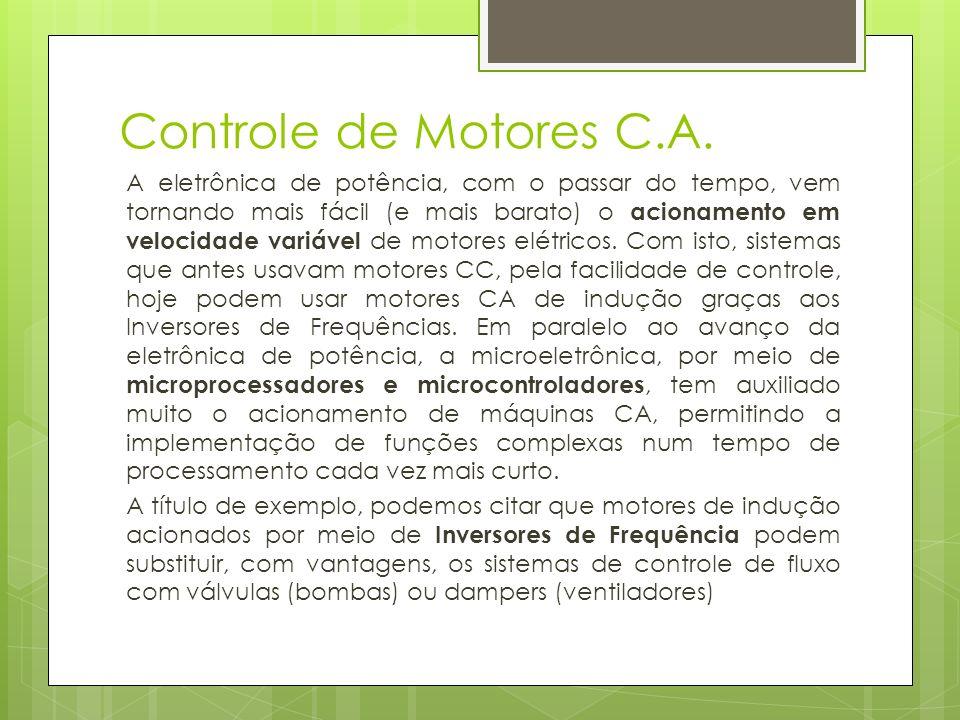 Controle de Motores C.A. A eletrônica de potência, com o passar do tempo, vem tornando mais fácil (e mais barato) o acionamento em velocidade variável