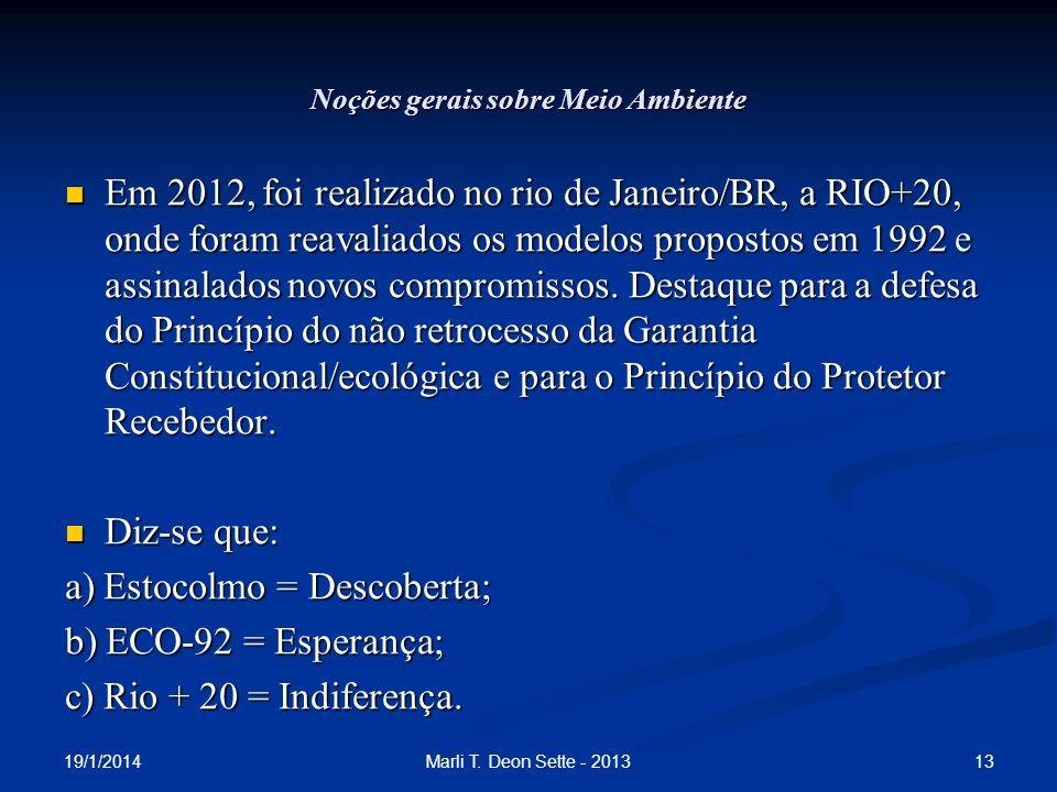 Noções gerais sobre Meio Ambiente Em 2012, foi realizado no rio de Janeiro/BR, a RIO+20, onde foram reavaliados os modelos propostos em 1992 e assinal