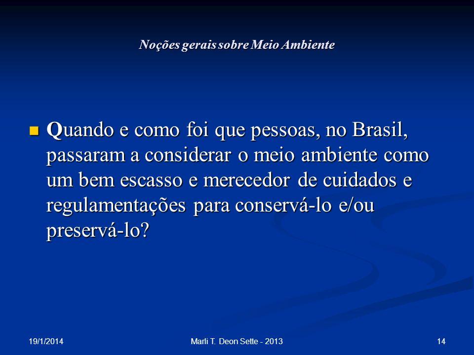 19/1/2014 14Marli T. Deon Sette - 2013 Noções gerais sobre Meio Ambiente Quando e como foi que pessoas, no Brasil, passaram a considerar o meio ambien