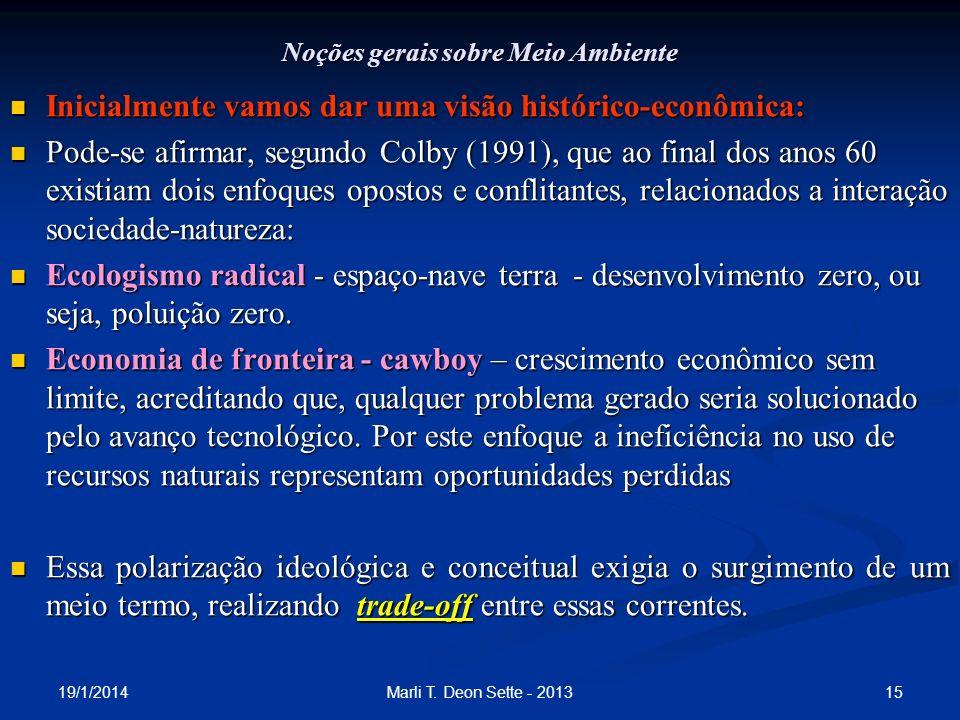 19/1/2014 15Marli T. Deon Sette - 2013 Noções gerais sobre Meio Ambiente Inicialmente vamos dar uma visão histórico-econômica: Inicialmente vamos dar
