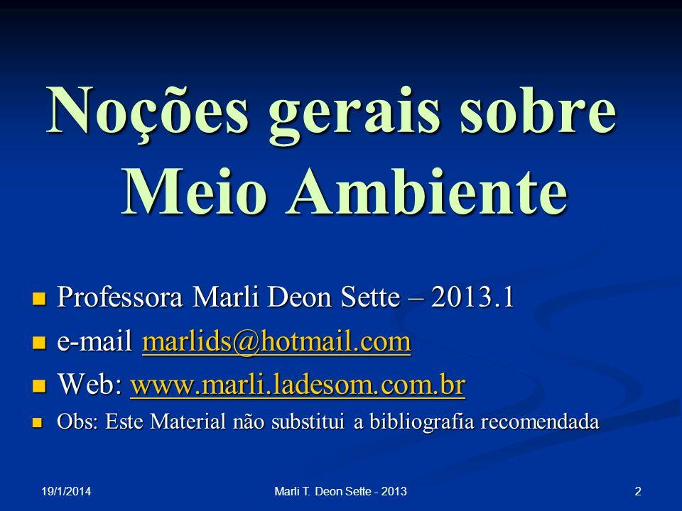 2Marli T. Deon Sette - 2013 Noções gerais sobre Meio Ambiente Professora Marli Deon Sette – 2013.1 Professora Marli Deon Sette – 2013.1 e-mail marlids
