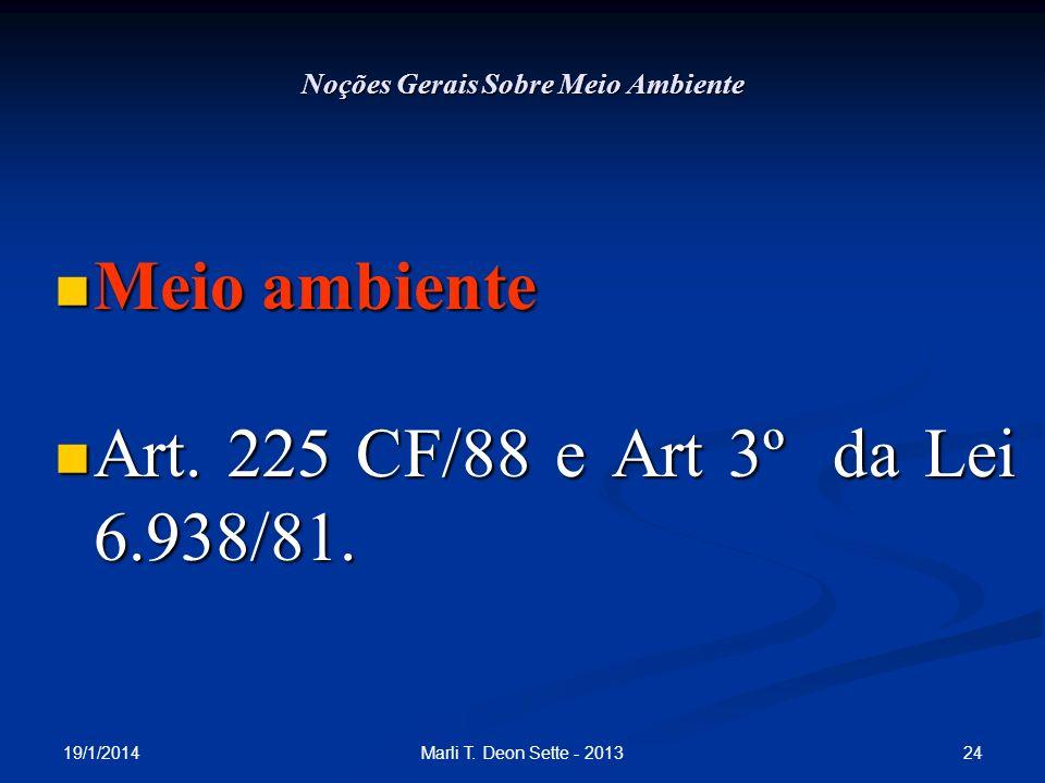 19/1/2014 24Marli T. Deon Sette - 2013 Noções Gerais Sobre Meio Ambiente Meio ambiente Meio ambiente Art. 225 CF/88 e Art 3º da Lei 6.938/81. Art. 225