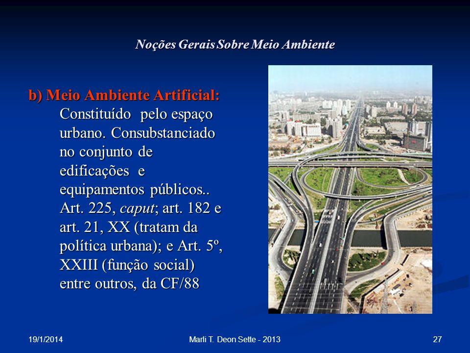19/1/2014 27Marli T. Deon Sette - 2013 Noções Gerais Sobre Meio Ambiente b) Meio Ambiente Artificial: Constituído pelo espaço urbano. Consubstanciado
