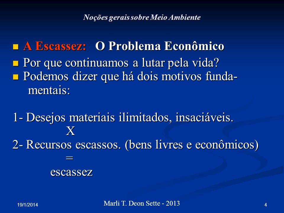 19/1/2014 4 Marli T. Deon Sette - 2013 Noções gerais sobre Meio Ambiente A Escassez: O Problema Econômico A Escassez: O Problema Econômico Por que con