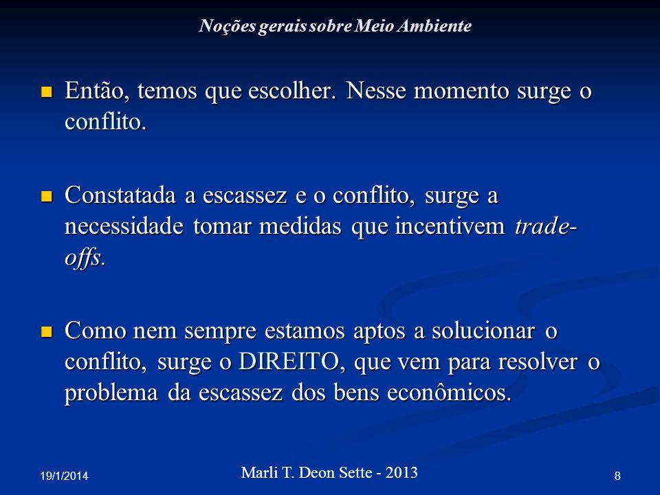 19/1/2014 8 Marli T. Deon Sette - 2013 Noções gerais sobre Meio Ambiente Então, temos que escolher. Nesse momento surge o conflito. Então, temos que e