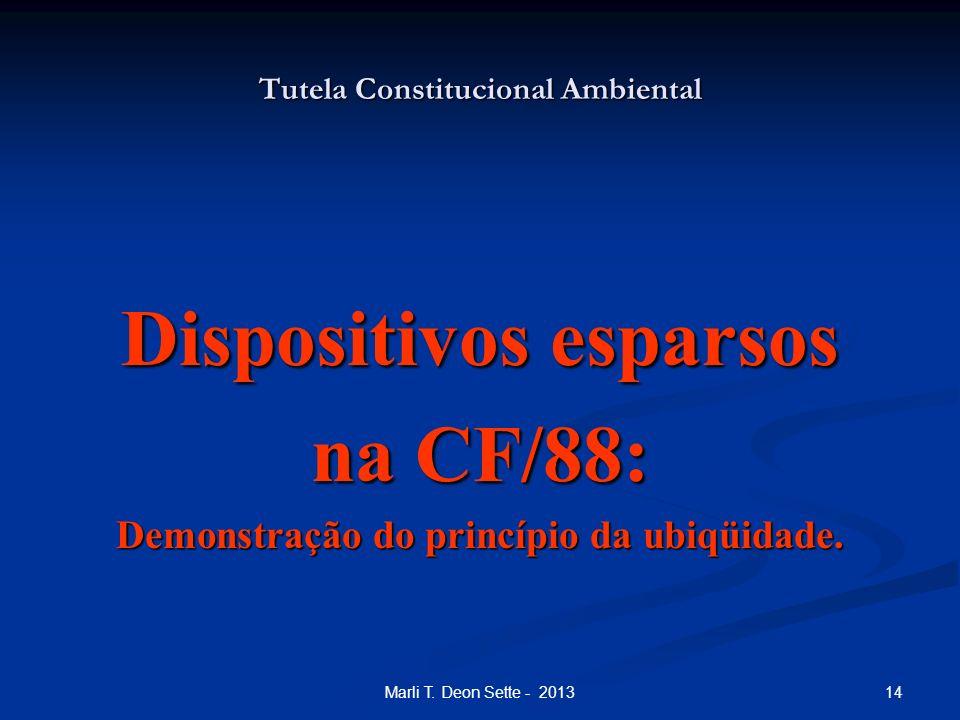 14Marli T. Deon Sette - 2013 Tutela Constitucional Ambiental Dispositivos esparsos na CF/88: Demonstração do princípio da ubiqüidade.