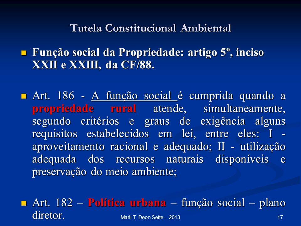 17Marli T. Deon Sette - 2013 Tutela Constitucional Ambiental Função social da Propriedade: artigo 5º, inciso XXII e XXIII, da CF/88. Função social da