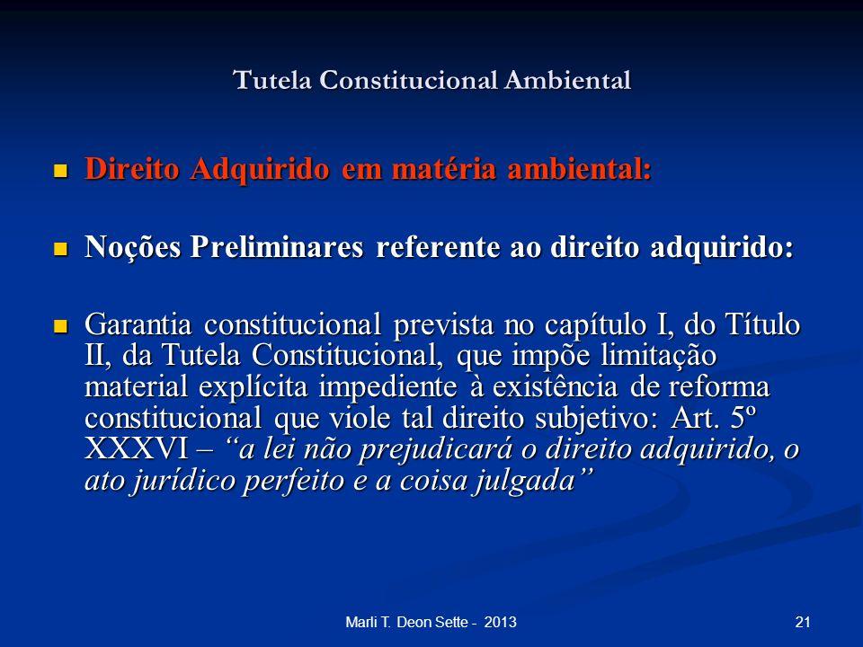 21Marli T. Deon Sette - 2013 Tutela Constitucional Ambiental Direito Adquirido em matéria ambiental: Direito Adquirido em matéria ambiental: Noções Pr