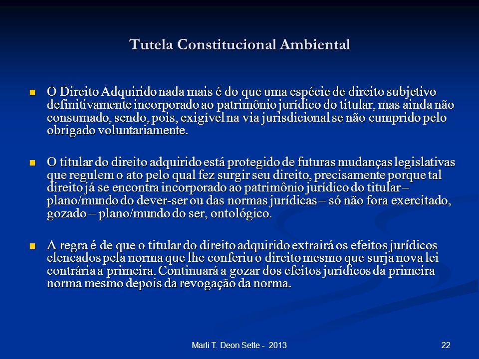22Marli T. Deon Sette - 2013 Tutela Constitucional Ambiental O Direito Adquirido nada mais é do que uma espécie de direito subjetivo definitivamente i
