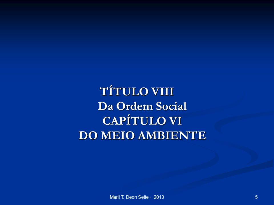 5Marli T. Deon Sette - 2013 TÍTULO VIII Da Ordem Social CAPÍTULO VI DO MEIO AMBIENTE