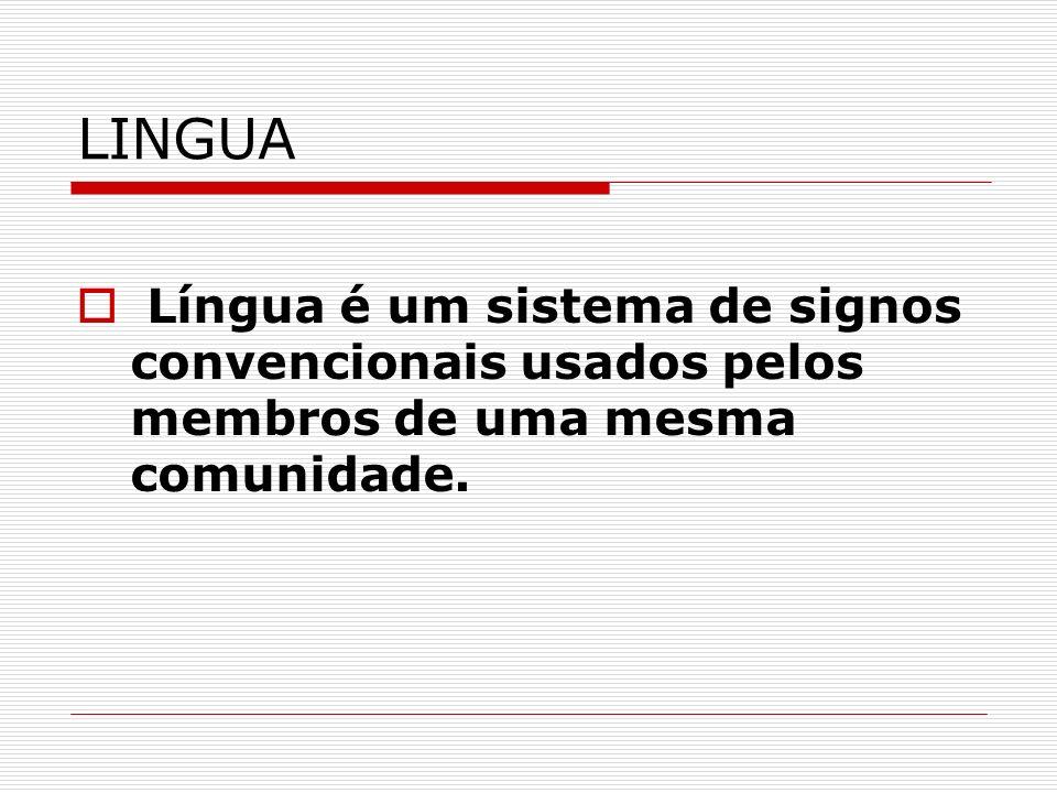 LINGUA Língua é um sistema de signos convencionais usados pelos membros de uma mesma comunidade.
