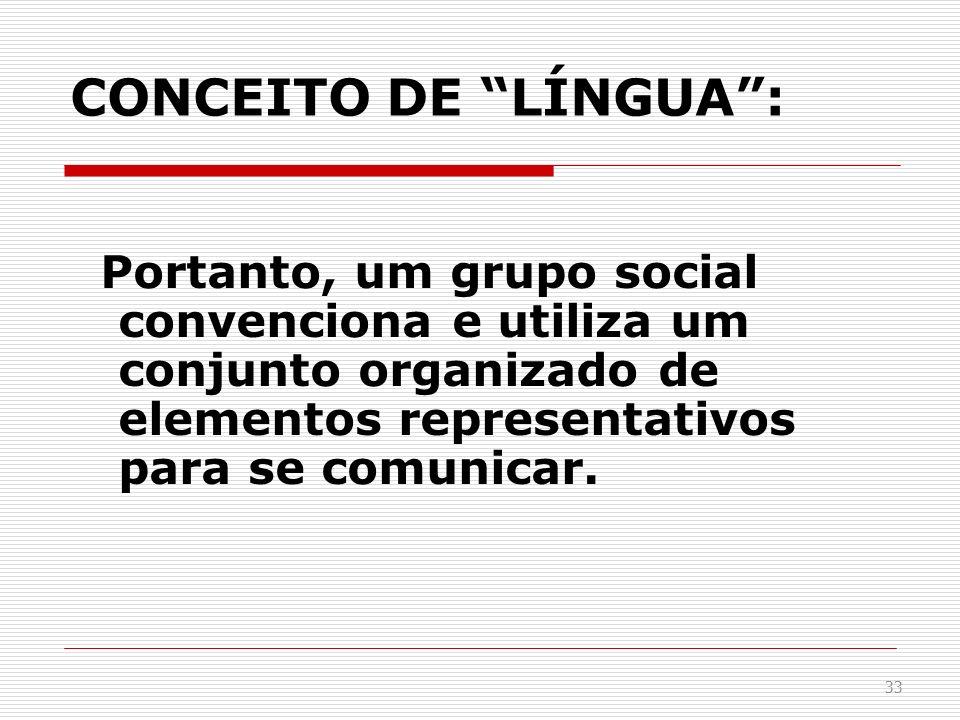 CONCEITO DE LÍNGUA: Portanto, um grupo social convenciona e utiliza um conjunto organizado de elementos representativos para se comunicar. 33