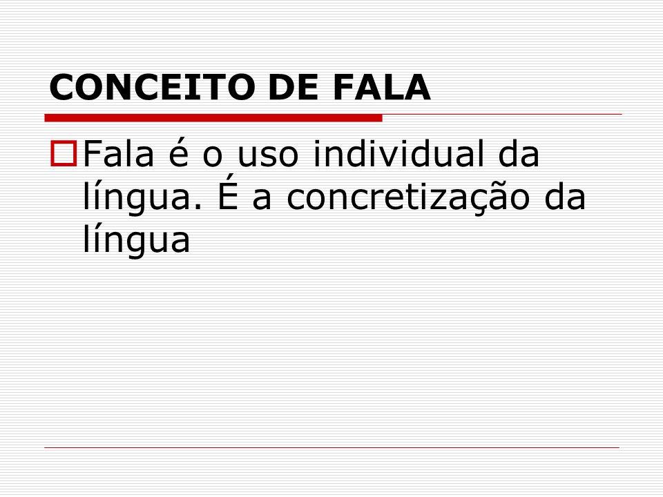 CONCEITO DE FALA Fala é o uso individual da língua. É a concretização da língua