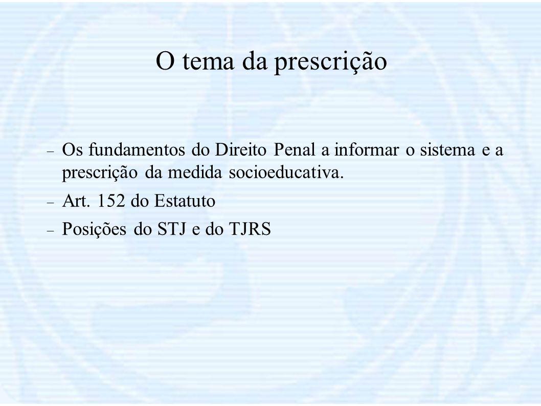O tema da prescrição Os fundamentos do Direito Penal a informar o sistema e a prescrição da medida socioeducativa. Art. 152 do Estatuto Posições do ST