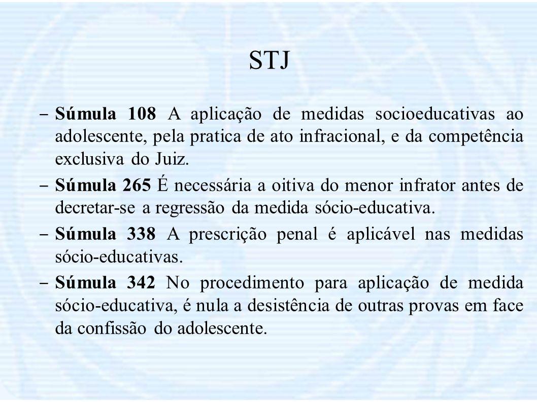 STJ – Súmula 108 A aplicação de medidas socioeducativas ao adolescente, pela pratica de ato infracional, e da competência exclusiva do Juiz. – Súmula