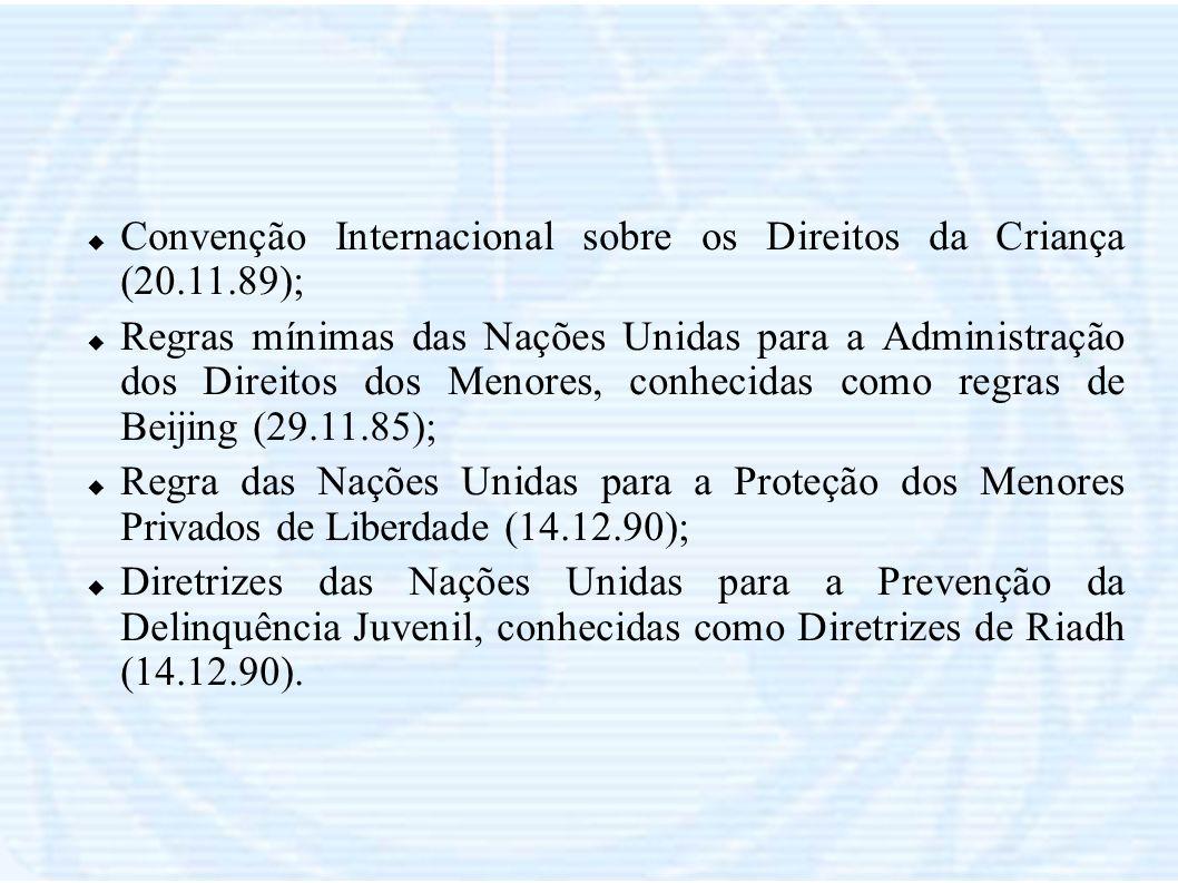 Convenção Internacional sobre os Direitos da Criança (20.11.89); Regras mínimas das Nações Unidas para a Administração dos Direitos dos Menores, conhe