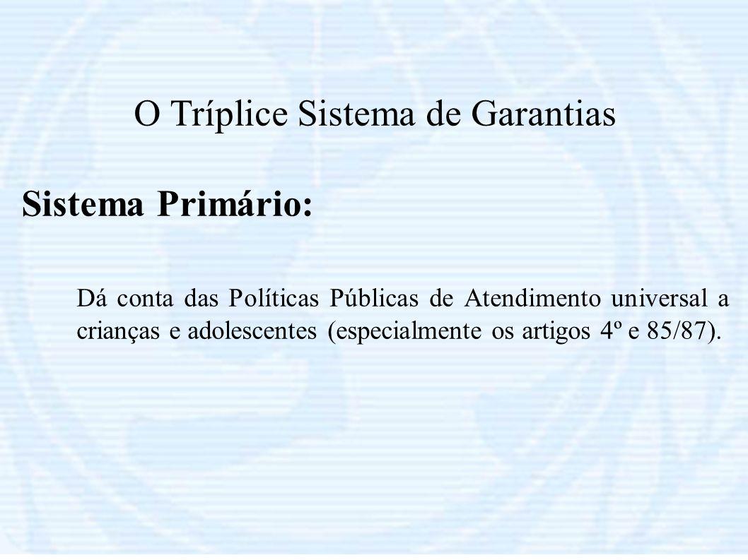 O Tríplice Sistema de Garantias Sistema Primário: Dá conta das Políticas Públicas de Atendimento universal a crianças e adolescentes (especialmente os