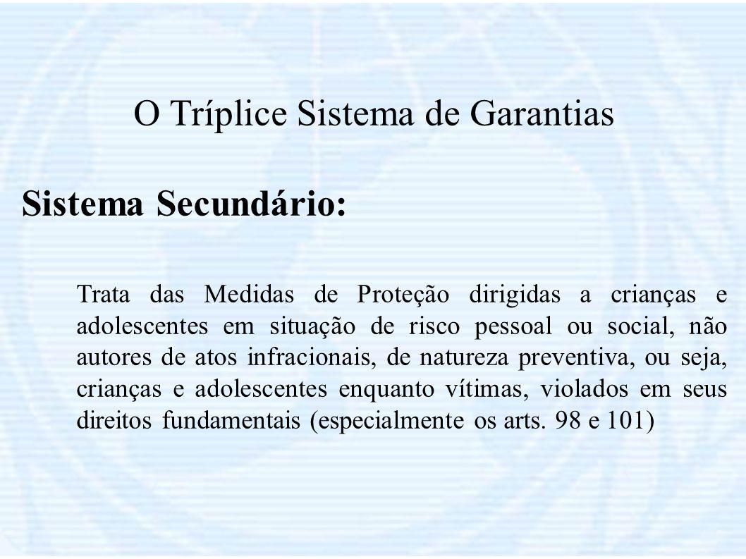 O Tríplice Sistema de Garantias Sistema Secundário: Trata das Medidas de Proteção dirigidas a crianças e adolescentes em situação de risco pessoal ou