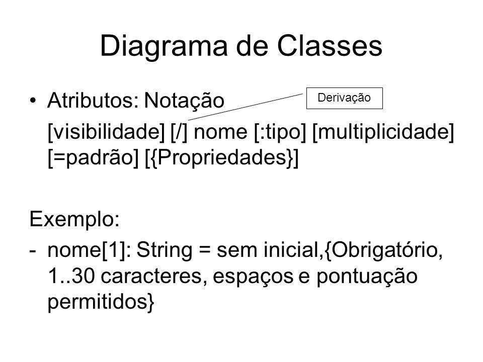 Diagrama de Classes Atributos: Notação [visibilidade] [/] nome [:tipo] [multiplicidade] [=padrão] [{Propriedades}] Exemplo: -nome[1]: String = sem ini