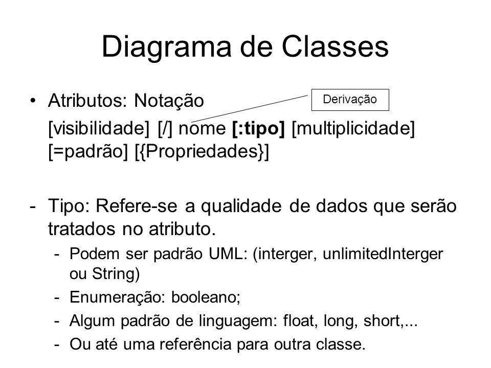 Diagrama de Classes Atributos: Notação [visibilidade] [/] nome [:tipo] [multiplicidade] [=padrão] [{Propriedades}] -Tipo: Refere-se a qualidade de dad