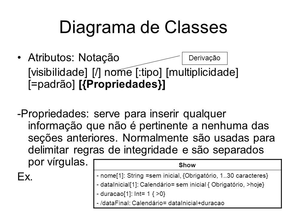 Diagrama de Classes Atributos: Notação [visibilidade] [/] nome [:tipo] [multiplicidade] [=padrão] [{Propriedades}] -Propriedades: serve para inserir q