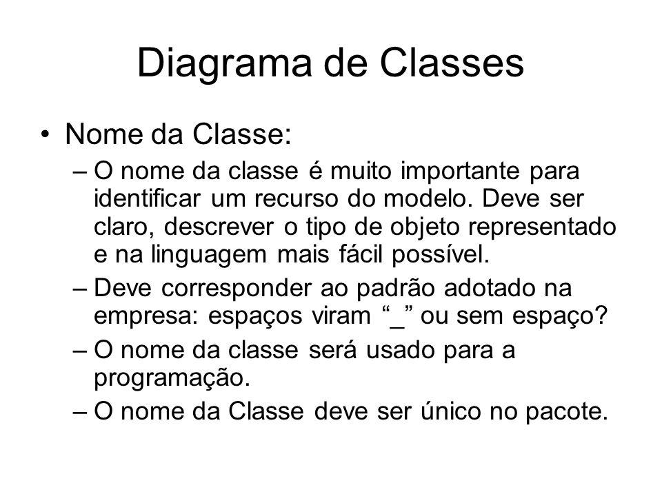 Diagrama de Classes Nome da Classe: –O nome da classe é muito importante para identificar um recurso do modelo. Deve ser claro, descrever o tipo de ob