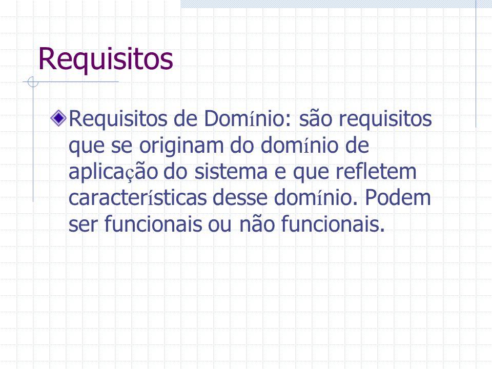 Requisitos de Dom í nio: são requisitos que se originam do dom í nio de aplica ç ão do sistema e que refletem caracter í sticas desse dom í nio. Podem