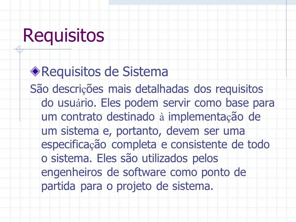 Requisitos Requisitos de Sistema São descri ç ões mais detalhadas dos requisitos do usu á rio. Eles podem servir como base para um contrato destinado