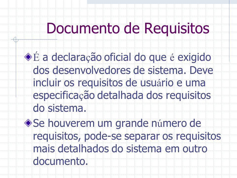 Documento de Requisitos É a declara ç ão oficial do que é exigido dos desenvolvedores de sistema. Deve incluir os requisitos de usu á rio e uma especi