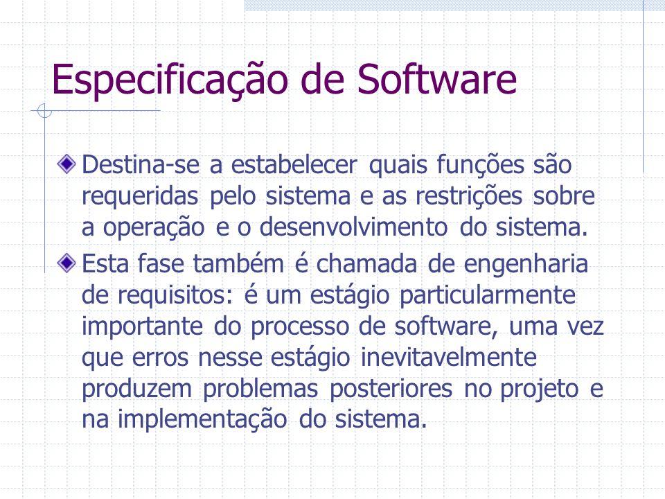 Destina-se a estabelecer quais funções são requeridas pelo sistema e as restrições sobre a operação e o desenvolvimento do sistema. Esta fase também é