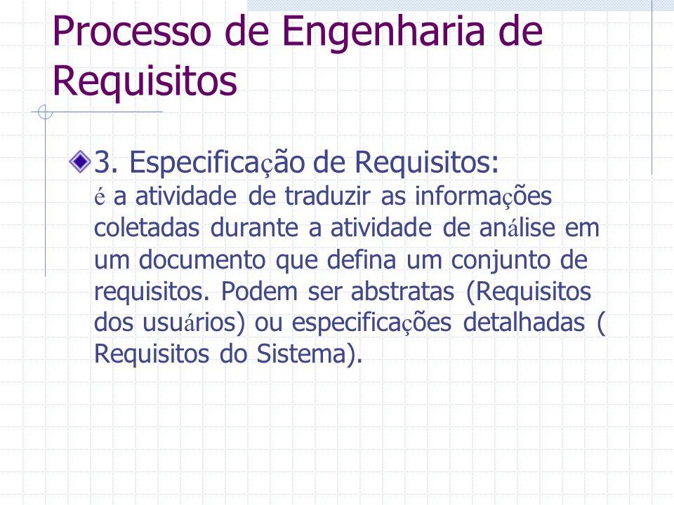 Processo de Engenharia de Requisitos 3. Especifica ç ão de Requisitos: é a atividade de traduzir as informa ç ões coletadas durante a atividade de an