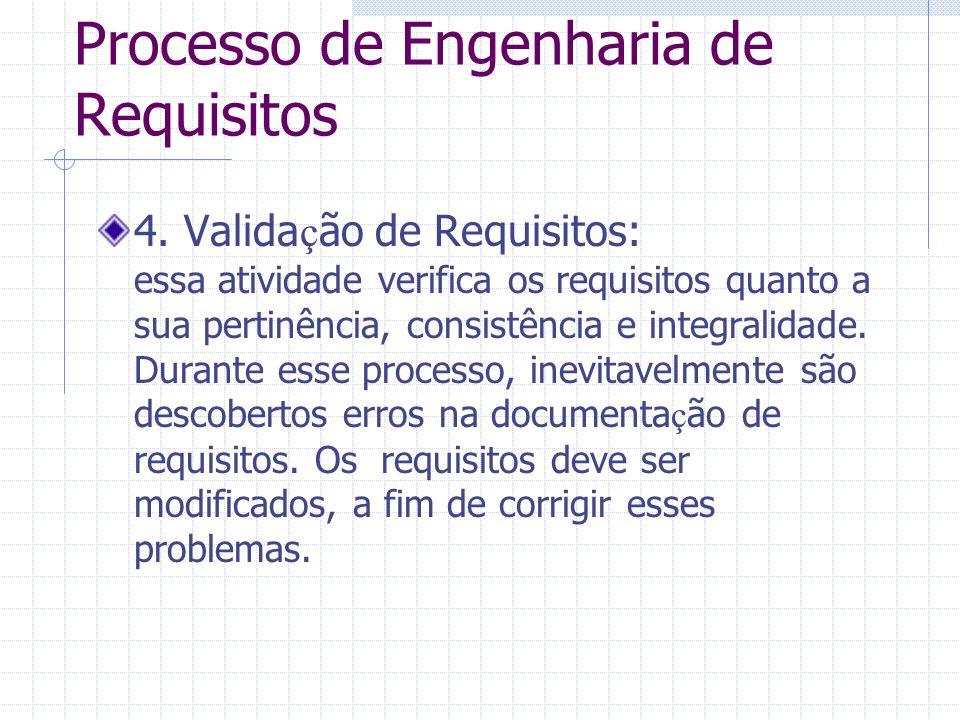 Processo de Engenharia de Requisitos 4. Valida ç ão de Requisitos: essa atividade verifica os requisitos quanto a sua pertinência, consistência e inte
