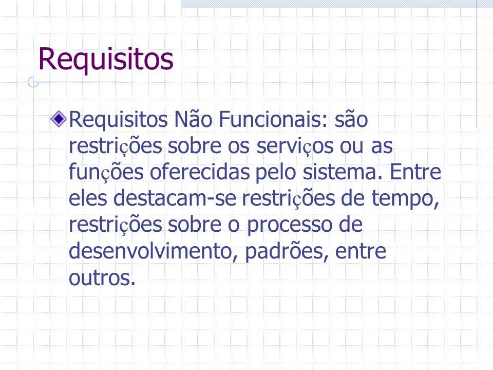 Requisitos Requisitos Não Funcionais: são restri ç ões sobre os servi ç os ou as fun ç ões oferecidas pelo sistema. Entre eles destacam-se restri ç õe