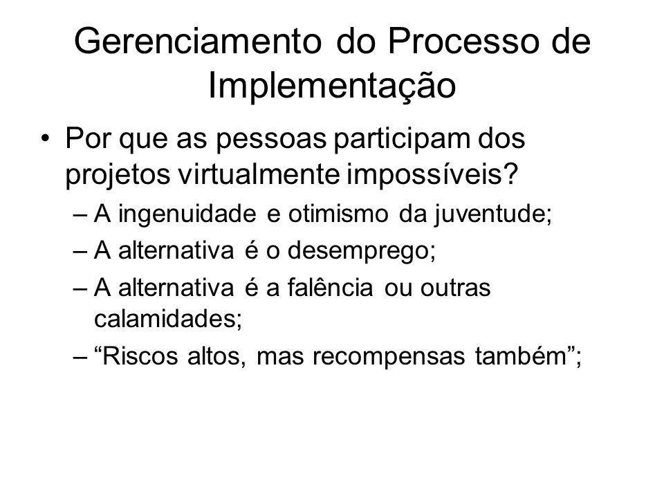 Gerenciamento do Processo de Implementação Por que as pessoas participam dos projetos virtualmente impossíveis.
