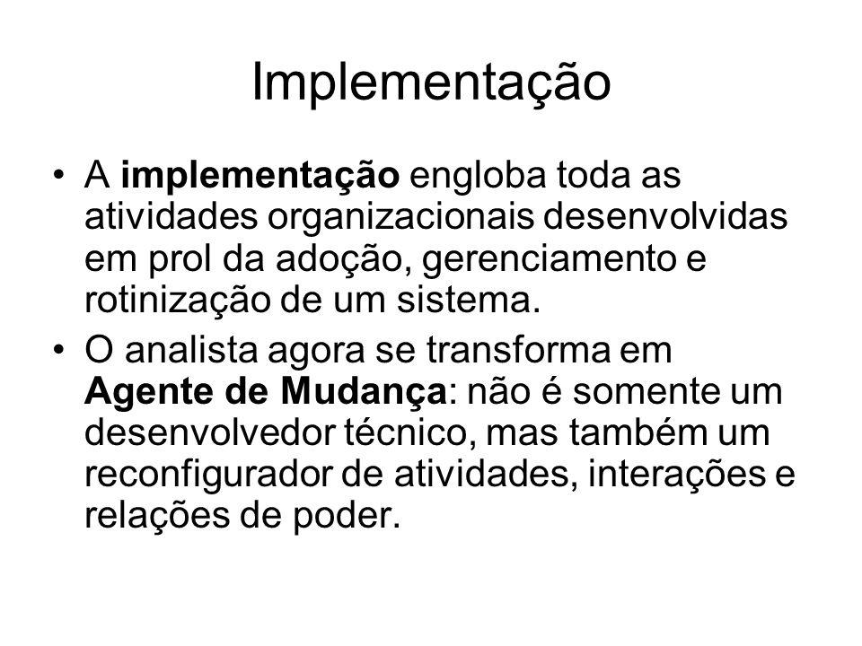 Implementação A implementação engloba toda as atividades organizacionais desenvolvidas em prol da adoção, gerenciamento e rotinização de um sistema.