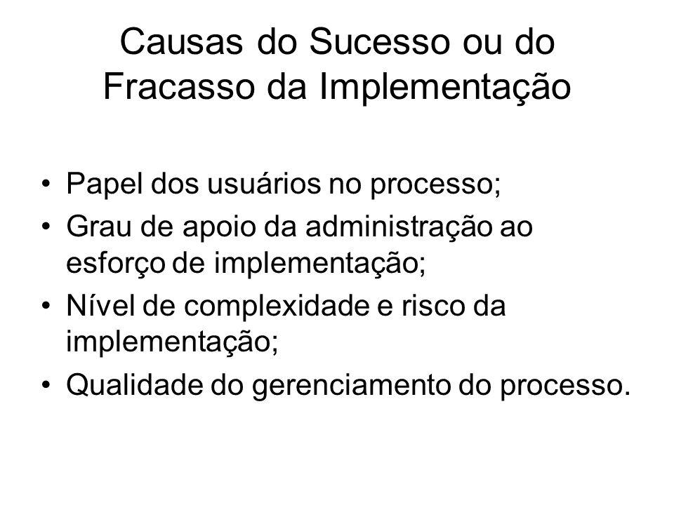 Causas do Sucesso ou do Fracasso da Implementação Papel dos usuários no processo; Grau de apoio da administração ao esforço de implementação; Nível de complexidade e risco da implementação; Qualidade do gerenciamento do processo.