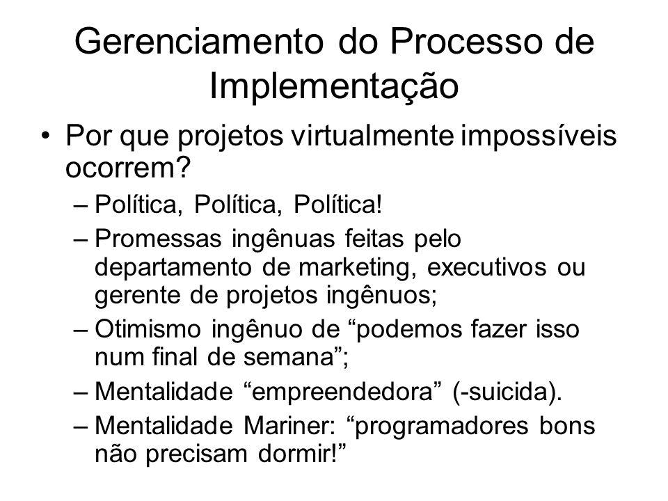 Gerenciamento do Processo de Implementação Por que projetos virtualmente impossíveis ocorrem.