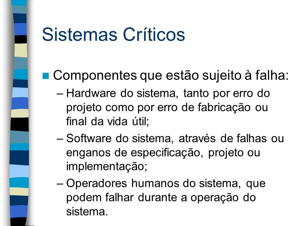 Sistemas Críticos Componentes que estão sujeito à falha: –Hardware do sistema, tanto por erro do projeto como por erro de fabricação ou final da vida